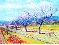早春の日差しを浴びて咲くプラムの木