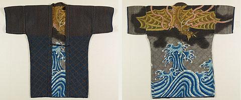 火事襦袢   黒木綿地波に雨龍模様刺子 江戸時代・19世紀
