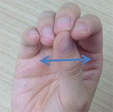 親指を左右に動かし、指が止まった所が答えとなる。