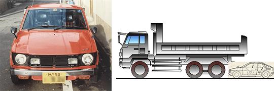 フロンテクーペとダンプカーのサイズの比較。